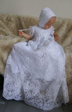 ANGEL Christening Gown ,  Lace Baptism Gown, Baptism dress, Christening set