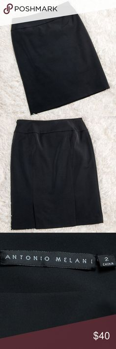 Antonio Melani Black Pencil Skirt Size 2 Size 2 black pencil skirt from Antonio Melani. Side zip with hook and eye closure. Banded waistband. Two slits in back. Dry clean only. 92% polyester, 8% spandex. ANTONIO MELANI Skirts Pencil