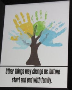 """Idea for the """"Share Sisterhood"""" requirement for the Girl Scout Way badge.  Each girl puts her handprint and name on the tree.  Add GS related text at bottom (maybe part of law or promise.)  Symbolizing the girls learning and growing together as a troop."""