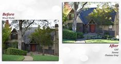 Before & after of a GAF roof. Profile: Sienna. Color: Chateau Gray.