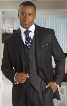 Tayion Suits Mens Black Fancy 100% Wool 3 Piece 012-Renaissance