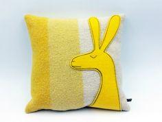 Rabbit Cushion Wool Wash, Yellow Cream, Vintage Yellow, Baby Gifts, Kids Room, Rabbit, Cushions, Craft Ideas, Throw Pillows