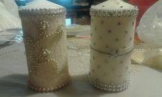 Candele decorate a mano con pizzi merletti e strass