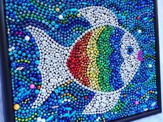 "Original Mardi Gras bead ""rainbow fish"" mosaic, art, colorful, blue, aqua, silver, children's room decor, 18 x 14. $62.00, via Etsy."