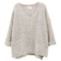 Sheinside Beige Long Sleeve V Neck Mohair Sweater (345 MXN) ❤ liked on Polyvore featuring tops, sweaters, shirts, jumpers, v-neck sweater, extra long sleeve shirts, mohair sweater, beige long sleeve shirt and v-neck tops
