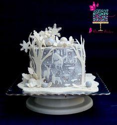 Christmas Themed Cake, Christmas Cake Designs, Christmas Cake Decorations, Holiday Cakes, Christmas Cakes, Crazy Cakes, Cake Icing, Fondant Cakes, Pretty Cakes
