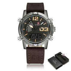 NAVIFORCE Top Luxury Military Watch Leather Men 93f57bc1b74