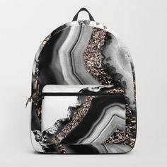 Agate Rose Gold Glitter Glam Backpack by anitabellajantz Cute Mini Backpacks, Stylish Backpacks, Girl Backpacks, Leather Backpacks, School Backpacks, Leather Bags, Backpack Purse, Fashion Backpack, Stylish School Bags