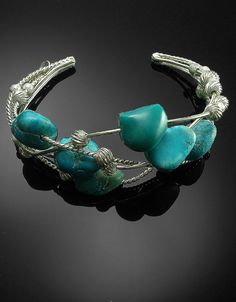 Sterling silver turquoise nugget cuff bracelet