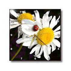 daisies with a ladybug - Wall Clocks