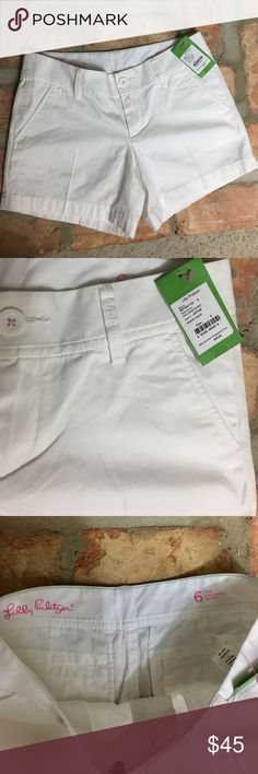 """Lilly Pulitzer White Callahan Resort Shorts NWT... Lilly Pulitzer White Callahan Resort Shorts. Waist: 30-31""""; Inseam: 4.5"""". Front & back pockets. 100% cotton. Zip and button closure. Belt loops. Lilly Pulitzer Shorts"""