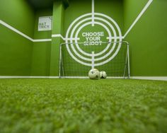 Hat Trick, Spain  A project by footballer Pablo Hernandez with the purpose of creating a space to live and share his passion for football.  This is the product testing area which allows shoppers to test the football boots on sale.