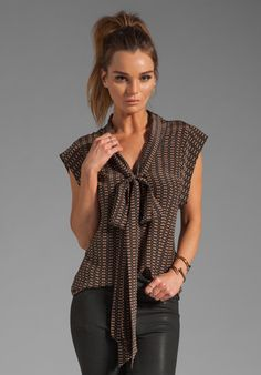 TRACY REESE Motif Stripe Tie Neck Shirt in Black/Caramel at Revolve Clothing - Free Shipping!