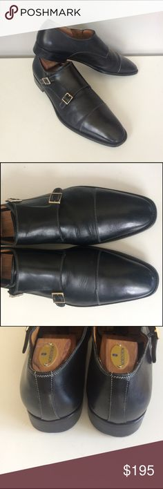 SANTONI Double Monk Dress Shoes Guaranteed authentic! Europe-only available Santoni double monk dress shoes, in black calfskin leather with white contrast stitching and polished stainless buckles. Excellent condition, minor wear to soles. Heels have taps, so there is no wear to the heels. Serial no. 751688 1. Santoni Shoes Oxfords & Derbys