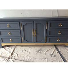 Blue and Gold Dresser/Buffet/Credenza/Bedroom Set/Custom/Furniture/Mid Century Modern Mid Century Modern Dresser, Mid Century Modern Furniture, Custom Furniture, Painted Furniture, Refurbished Furniture, Furniture Ideas, Upcycled Furniture, White And Gold Dresser, Girl Dresser