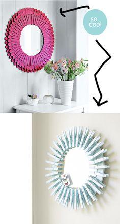 MadeByGirl: DIY Sunburst Mirrors .....Spoons & Clothespins