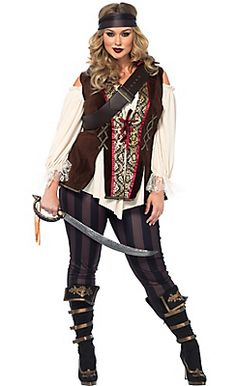 Adult Captain Blackheart Pirate Costume Plus Size