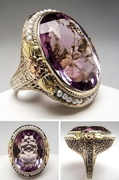 Antique Amethyst Cocktail Ring ♡♡ I don't know how to express just how much I would dearly love to have this ring! Amethyst is my birthstone, for one, but I just appreciate beautiful jewelry a great deal, and to me this is just gorgeous! Antique Rings, Antique Jewelry, Vintage Jewelry, Antique Jade, Antique Silver, Antique Bracelets, Antique Necklace, Jewelry Box, Jewelery