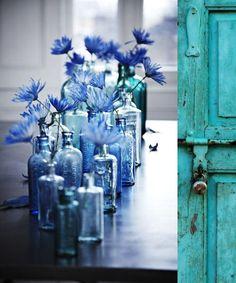 blue decor + vases and door