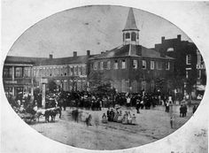 The original Stark County Courthouse in Canton, Ohio, c1860s.  Today's courthouse is an extensive renovation of the second courthouse, which some consider the third courthouse.  From the collection of the McKinley Presidential Library & Museum.