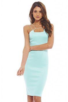 8328f1d4547 AX Paris Women s Strap Detail Midi Plain Soft Aqua Dress(Blue