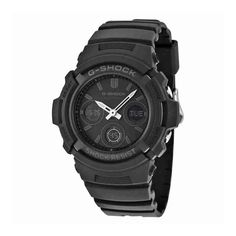 """Casio Men's AWGM100B-1ACR """"G-Shock"""" Solar Watch. Solar Rechargeable Battery. Full Auto LED Light with Afterglow. Multi-Band Atomic Timekeeping (US, UK, Germany, Japan, China). Black IP Stainless Steel & Resin Composite Band. 200M Water Resistant."""