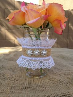 2 burlap lace trimmed mason jars with 3 rhinestone and pearl flowers