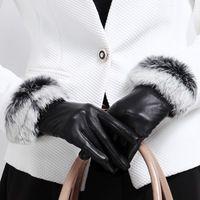 2014 top thermal short design luxury rabbit fur sheepskin gloves genuine leather womens gloves double Thick warm cashmere gloves
