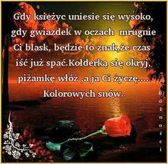 Kolorowych snów Good Night, Polish, Pictures, Nighty Night, Good Night Wishes