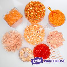 Zest up your party with an orange candy buffet! Orange Candy Buffet, Dots Candy, Orange Party, Orange Chevron, Plastic Bowls, Candy Containers, Candy Bags, Hard Candy, Trifle