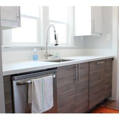 Echo Park, CA | Brockhult Bases with Ringhult Upper Accents | Pure White Quartz Countertops #ikeakitchens #ikeakitchen #ikea