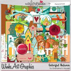 Colorful Autumn/To Grandma's House  - digital scrapbooking kit from Winks Art Graphics. This Autumn and Grandma's house inspired kit is filled with cute elements and papers.