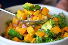 Mango and Avocado Salsa by Michelle Tam http://nomnompaleo.com ... Pretty good although I would add more lime juice to make more citrus-y.