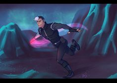 Shiro and his glowing Galra prothetic arm in battle ready from Voltron Legendary Defender