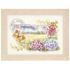 """Hydrangeas and Butterflies Stamp - 8.5"""" x 6"""", counted cross-stitch :: I love this for so many reasons, because it's a """"stamp"""" design, because the colors are so light and delicate, the design is beautiful... Another one to buy for my To Stitch collection. ♥"""