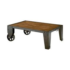 Bring A Touch Of Rustic Chic Style To Your Living Room Or Den With This  Eye Catching Coffee Table, Showcasing An Industrial Inspired Cart Design  And A Dark ...