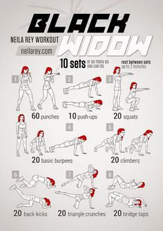 Black Widow Workout If only all of us could be as amazing as Marvel's Black Widow. Maybe with this workout we could at least come a little closer ; Fitness Hacks, Fitness Workouts, Hero Workouts, Fitness Motivation, Sport Fitness, At Home Workouts, Movie Workouts, Total Body Workouts, Agility Workouts