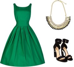 """""""Green Dress Outfit"""" by erehkemper on Polyvore"""