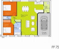 plan maison 75m2 2 chambres