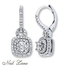 Neil Lane Earrings 7/8 ct tw Diamonds 14K White Gold