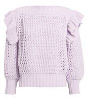 Ruffle Lavender Sweater Pastel Fashion, Open Weave, Pullover, Boat Neck, Color Pop, Ruffles, Lavender, Knitting, Long Sleeve