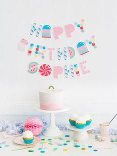 Free Printable Candy Letter Garland - The Best Birthday Party Ideas for Kids - Photos Party Set, Diy Party, Party Time, Party Favors, Party Ideas, Sofia Party, Party Printables, Free Printables, Free Printable Banner