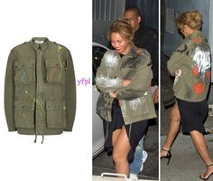 Beyoncé was spotted in LA yesterday (January 10th) wearing FAITH CONNEXION Graffiti Parka Jacket ($1,470) with custom made print on it