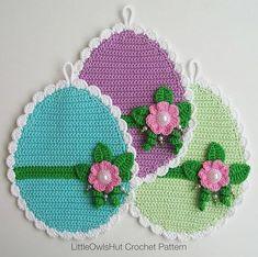 Crochet Easter Eggs Potholder Crochet Pattern