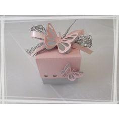 Boîte à dragées Papillon Carrée
