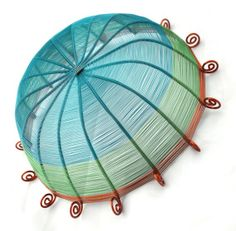 Sixteen sided copper wire basket in teal blue green by Xanadu2You, $180.00