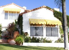 Yellow stripe spear awning