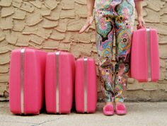 Set of 4 Pink Samsonite 'Saturn' Suitcases by BackThennishVintage #hotpink #fuchsia #suitcase