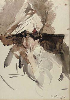 Consuelo, Duchess of Marlborough, 1905, Giovanni Boldini. Italian (1842 - 1931)  - Watercolor on Paper -