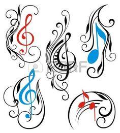 Satz von Musik notes vector Lizenzfreie Bilder